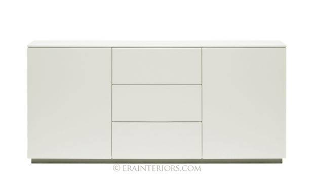 Contemporary White Lacquer Cabinet Two Push Open Doors Three
