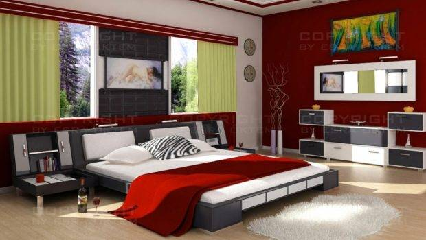 Cool Modern Bedroom Red Color Design Ideas