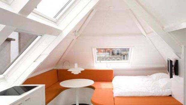 Cool Small Attic Bedroom Ideas White Orange Bed