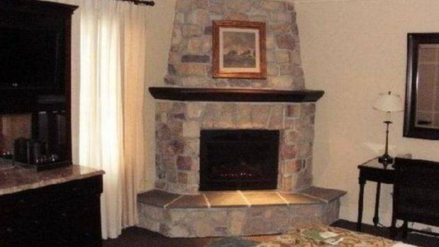 Corner Stacked Stone Fireplace Designs