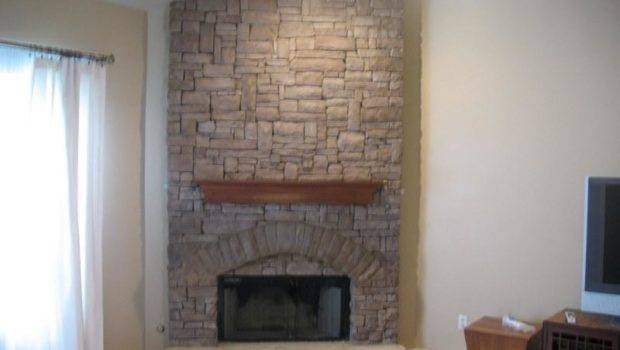 Corner Stacked Stone Fireplace Fireplaces Indoor