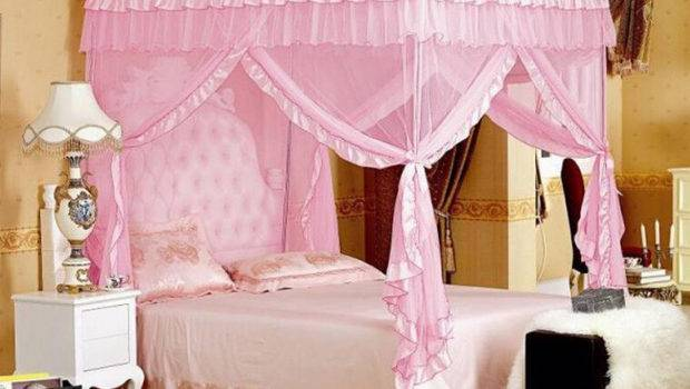 Corners Post Bed Curtain Canopy Mosquito Three Door