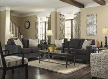 Cosy Cherry Wood Living Room Dark Gray Couch Ideas