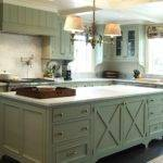 Country Kitchen Design Green Gray Cabinets