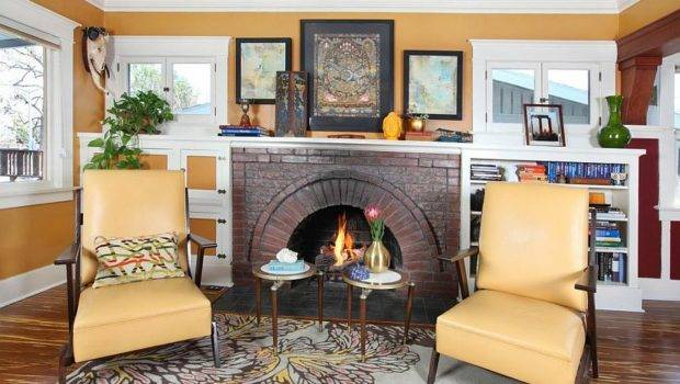 Cozy Fireplace Living Room Twin Chairs Hollywood