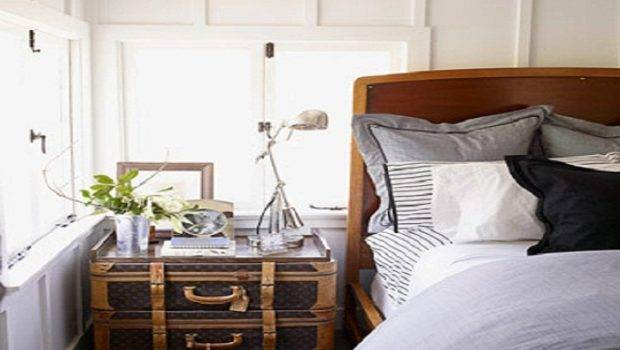 Creative Homemade Bedside Table Consists Vintage Suitcases Interior