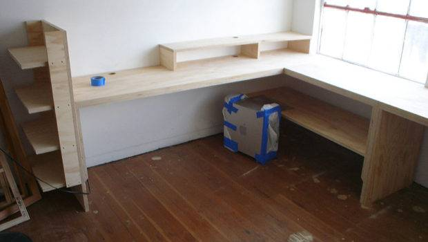 Custom Desk Made Plywood Installed Industrial Office Space