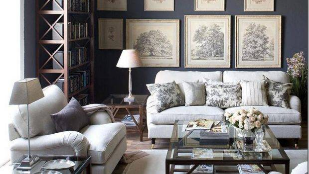 Dark Gray Living Room Walls Toile Interiorly