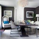 Dark Gray Walls Royal Blue Accents Classy Dining Room