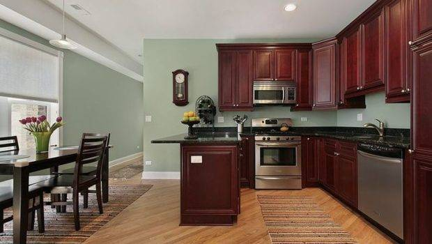 Day Small Kitchen Features Traditional Rich Cherry Cabinets