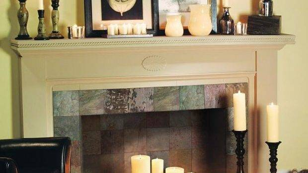 Decorating Fireplace Candles Photos