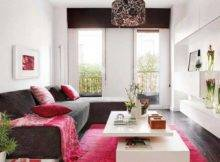 Decorating Ideas Small Apartments Black Sofa Combine Red