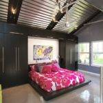 Decoration High Ceiling Garage Remodel Into Moden Bedroom Design