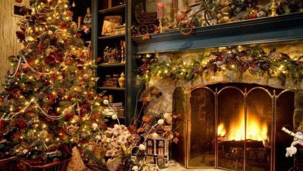 Decoration Old Fashioned Christmas Fireplace Decorating Ideas