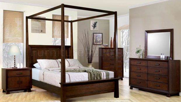 Deep Brown Classy Bedroom Solid Wood Canopy Bed Crbs