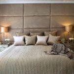 Deeply Padded Upholstered Wall Headboard Soft Muted Shades Taupe