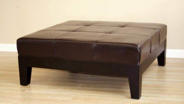 Details Large Ottoman Leather Coffee Table Footstool Foot Stool