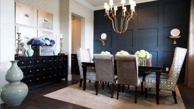 Dining Room Black Accent Wall Navy Walls Pinterest