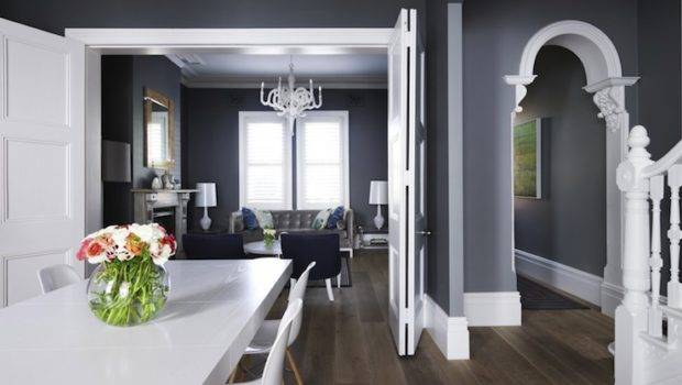 Dining Room Dark Gray Walls Paired Crisp White Crown Molding