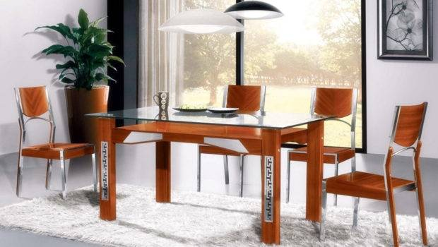 Dining Room Glamorous Wood Glass Table