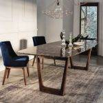 Dining Table Emperador Marble Top Walnut Base