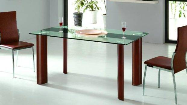 Dining Table Wood Glass Top