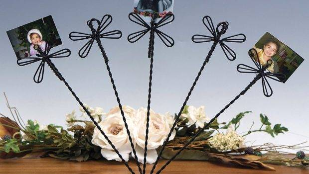 Display Stand Wire Card Holder Dragonfly Clasp