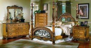 Distressed Oak Finish Classic Post Canopy Bed Options Hebs