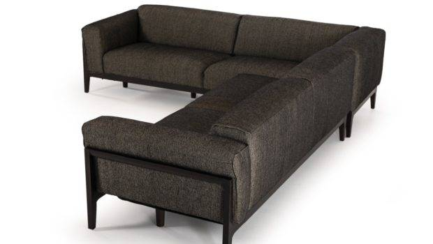 Divani Casa Tifton Wood Legs Fabric Sectional Sofa