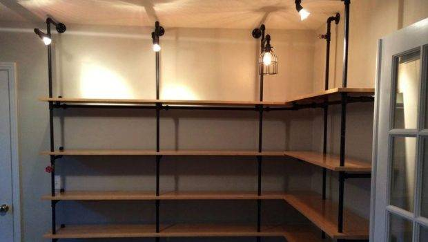Diy Lighted Pipe Shelving Cool Material