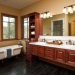 Double Sink Vanity Completed Wall Sconces Master Bathroom