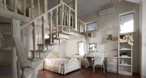 Dreamy Floral White Bedroom Mezzanine Homework Space