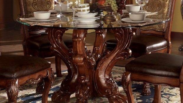 Dresden Formal Carved Wood Round Glass Top Dining