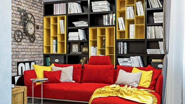 Dynamic One Room Apartment Interior Young People