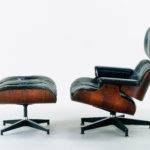 Eames Lounge Chair Molded Rosewood Plywood Black Leather