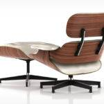 Eames Lounge Chair Otto Walnut White Leather Corner Back