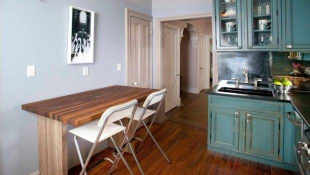 Eclectic Kitchen Fold Away Dining Table Counter Height Chairs