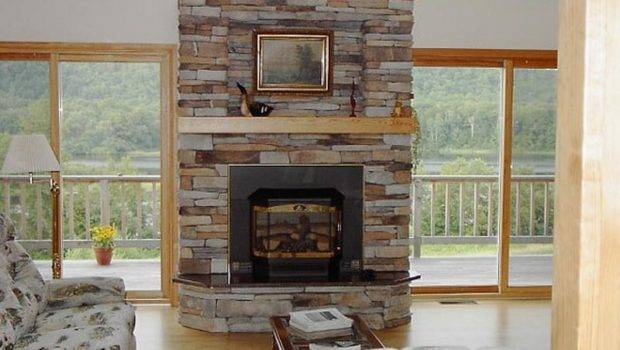 Elegant Corner Stone Fireplace Designs