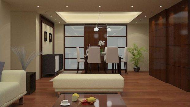 Elegant Dining Living Room Wooden Wall Design House