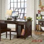 Elegant Home Office Wooden Dark Desk Chairs