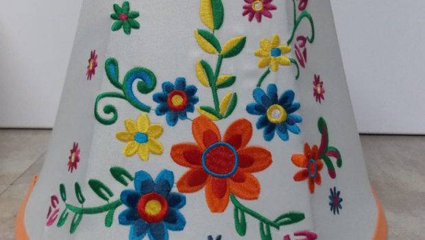 Embroidered Large Small Colorful Flower Fabric Lamp