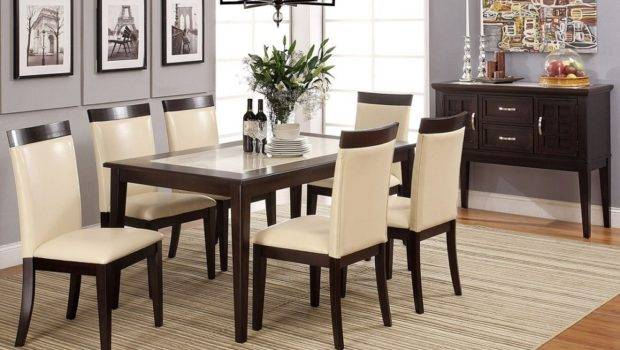 Evious Cream Marble Top Stylish Dining Table Set