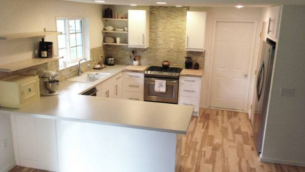 Excellent Shaped Tiny Kitchen Design White Cabinet Green