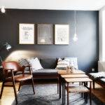 Face Charcoal Gray Wall Makes Den Feel Quite Cozy Above