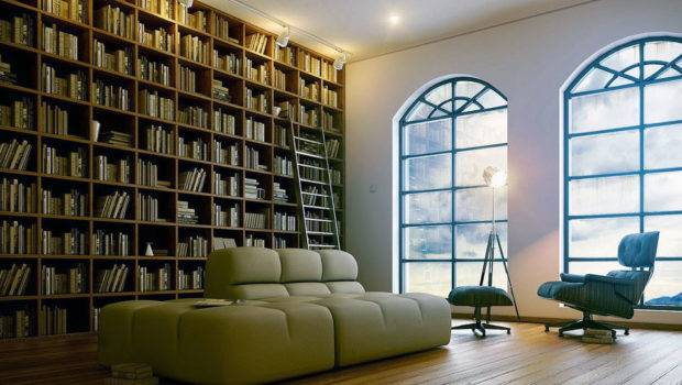 Fantastic Home Library Design Modern Sofa Arched Window Lounge Chairs