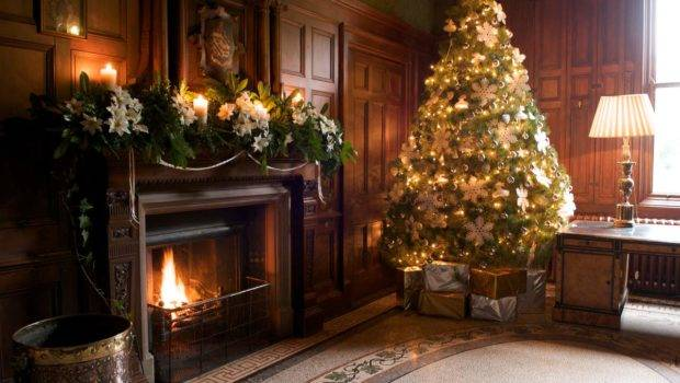 Fashionable Stylish Living Room Fireplace Christmas