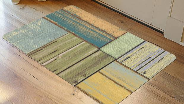 Faux Floor Rug Patchwork Wood Patterned Rugs