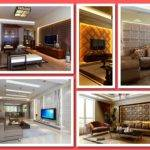 Faux Leather Tile Accent Walls Living Rooms