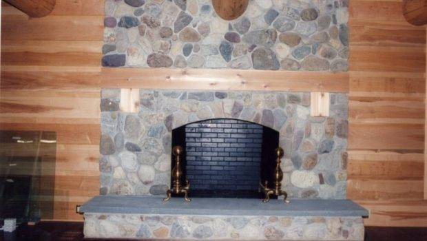 Field Stone Fireplace Built Bookshelves Storage