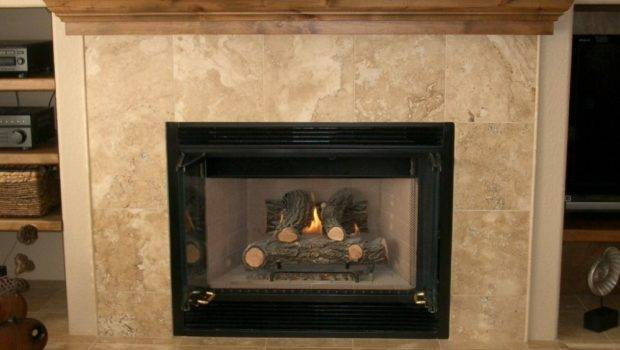 Fireplace Uses Square Travertine Tiles